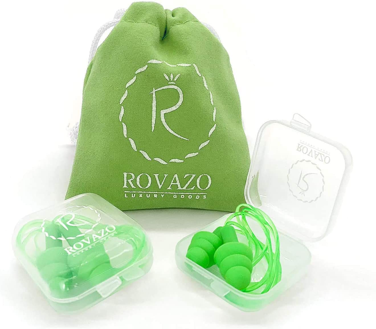 ROVAZO - Reusable Silicone Corded Ear Plugs – 2 Pairs - NRR 32, Waterproof, Hypoallergenic - Ultra Comfortable Noise Reduction Earplugs for Swimming, Concerts and Airplanes – Bonus Travel Pouch