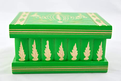 Hidden Compartment Safe Stash Puzzle Jewelry Box Lock Key Wood Brain Teaser Gift Idea Keepsake Green