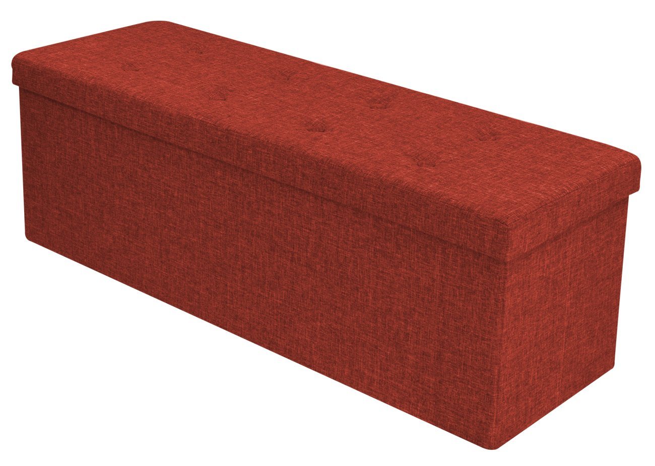 Sorbus Storage Ottoman Bench – Collapsible/Folding Bench Chest with Cover – Perfect Toy and Shoe Chest, Hope Chest, Pouffe Ottoman, Seat, Foot Rest, – Contemporary Faux Linen (Large, Red)