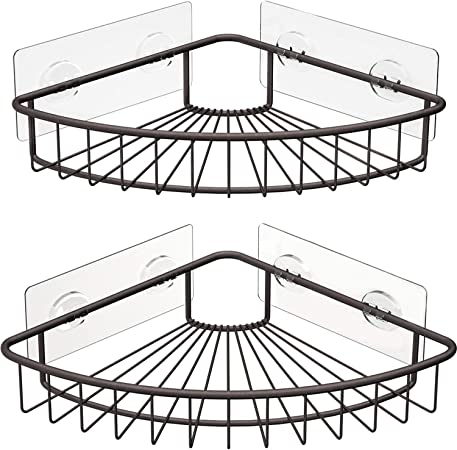 Kitchen Wall Mounted Storage Organizer Racks for Shower SMARTAKE 2-Pack Corner Shower Caddy Stainless Steel Adhesive Bathroom Shelf with Removable Hooks Toilet and Dorm Silver