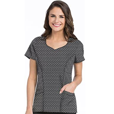 46650e19d24 4-Ever Flex by Med Couture Women's Dreamy Sweetheart Neck Founce Print Top-  Perfect