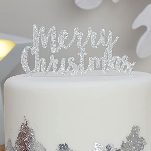ginger ray merry christmas silver sparkling xmas cake topper christmas metallics