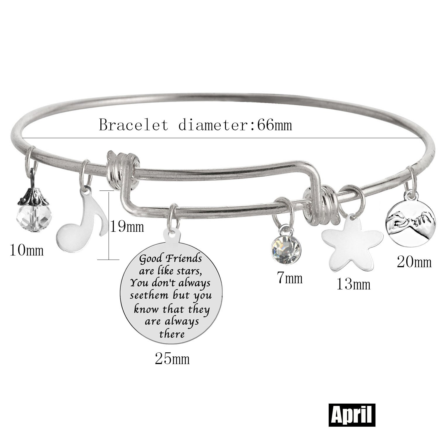 TISDA Good Friends are Like Stars,You Dont Always See Them but You Know That They are Always There Shiny crystal charm Expandable Wire Bangle Bracelets