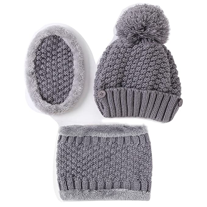 ECYC Women Winter Warm Knitted Beanie Hat With Scarf   Face Mask ... f6a3441143f1