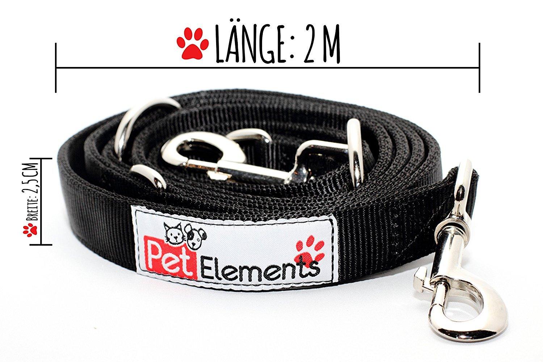 Laisse haute multifonction pour pour chien–4Longueur ajustable en–coutures renforcées pour haute résistance–2m longue laisse Double PetElements