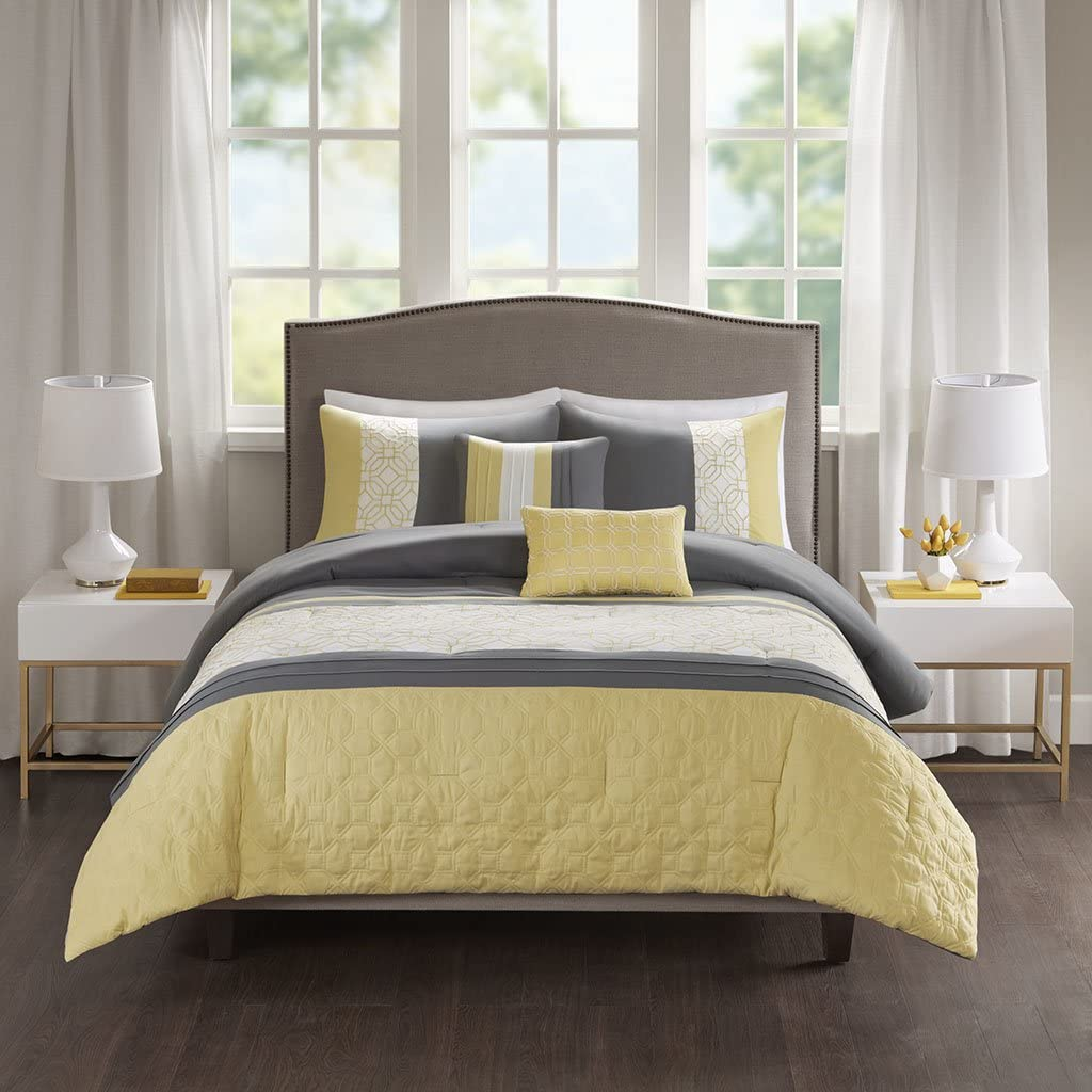510 DESIGN Donnell Embroidered 5 Piece Comforter Set Yellow/Grey Full/Queen