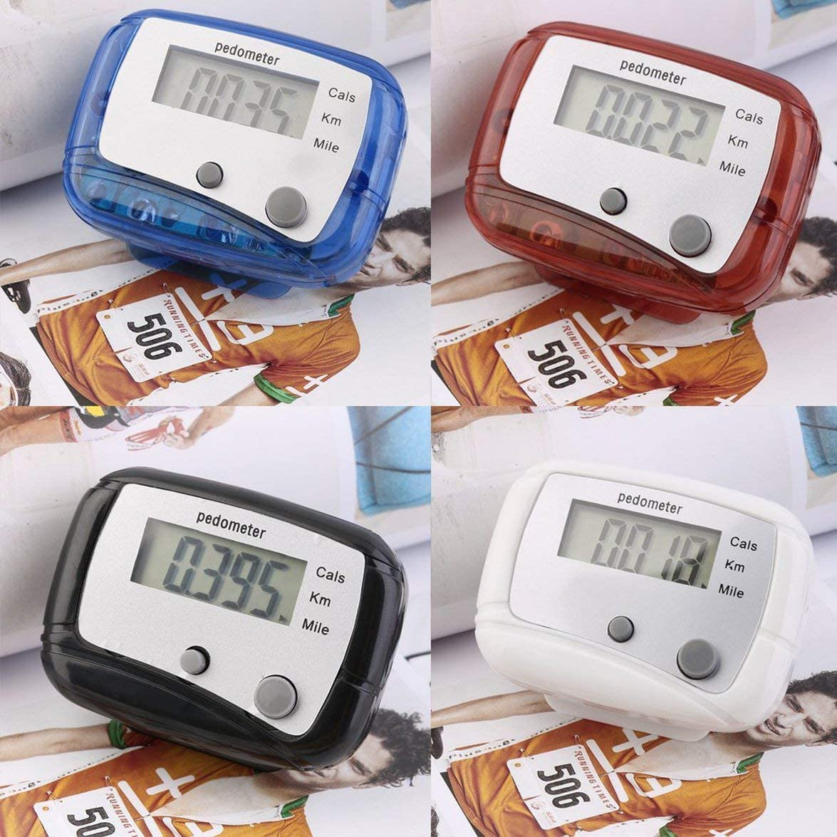 Sylvialuca Counter Belt Clip for Easy Use Mini Digital LCD Run Step Pedometer Walking Distance ABS up to 99999 steps