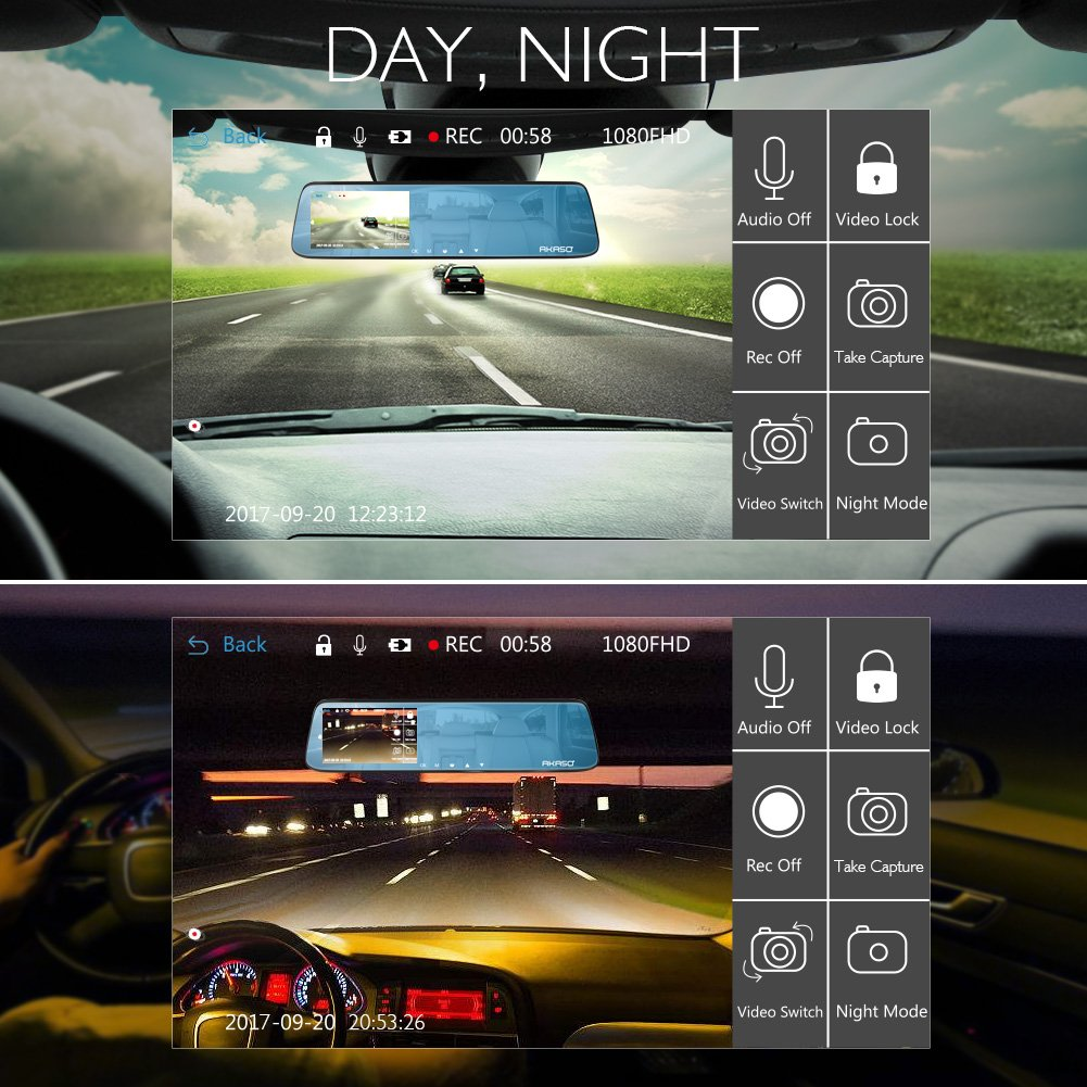 AKASO Mirror Dash Cam 1080P 5 Inch Touch Screen Dash Camera Front and Rear Dashcam with G-Sensor, Night Vision, Reversing Camera, Parking Monitor by AKASO (Image #4)