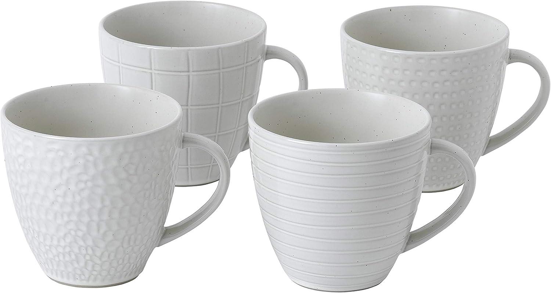Gordon Ramsay by Royal Doulton Gordon Ramsay Maze Grill 4 piece mug set, 12.6 oz, Soft White