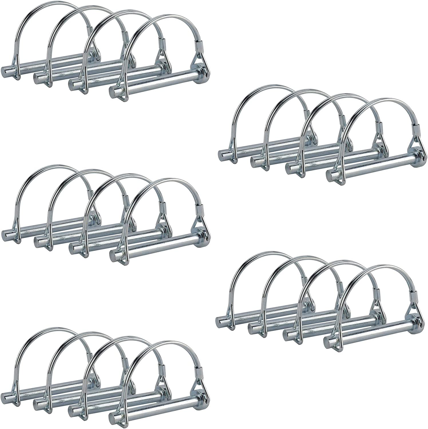 AuInn Pack of 20 Wire Lock Pins, 5/16 Inch Shaft Locking Pin Heavy Duty Safety Coupler Pin Hitch Pin with Round Arch Wire Retainer for Trailers Lawn Garden