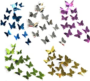 SIKAMARU 60 Pcs 3D Mirror Butterfly Wall Stickers Decals for Baby Kids Room Wedding Home Fridge DIY Art Decor(Five Colors,Silver Purple Gold Blue Green )