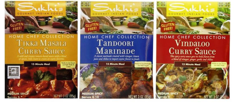 Sukhi's Gourmet Indian Foods Gluten-Free Sauce Mix 3 Flavor Variety Bundle, (1) each: Tikka Masala, Tandoori Marinade, Vindaloo Curry (3 Ounces) by Sukhi's Gourmet Indian Foods
