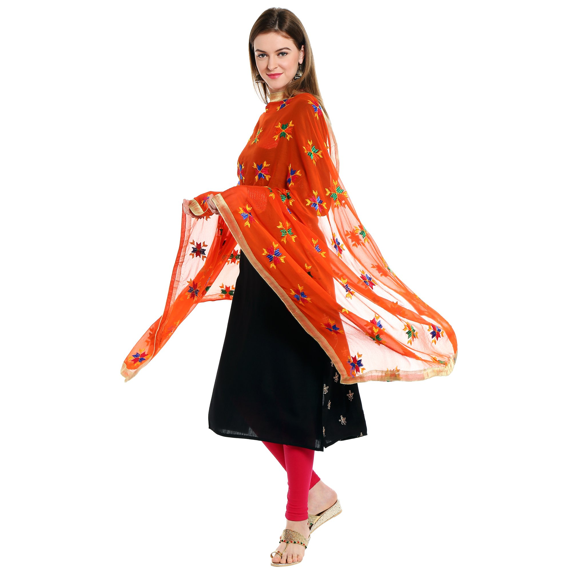 Dupatta Bazaar Indian Phulkari Embroidered Chiffon Dupatta Stole for Women/ Designer Ethnic Lace Border Scarf Shawl/Chunni,Orange