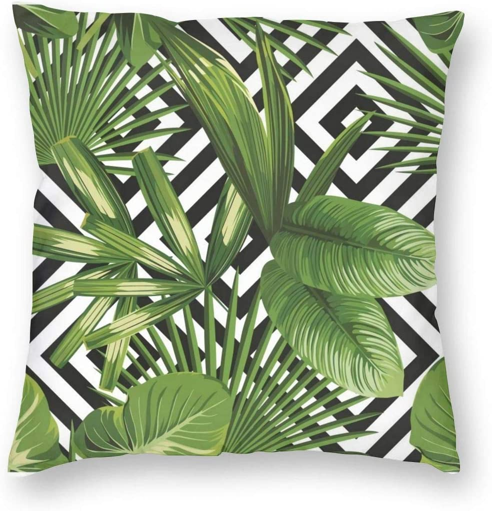 Amazon Com Toluyoqu Throw Pillow Cover Summer Exotic Jungle Plant Tropical Palm Leaves On The Geometric Decorative Pillowcases Cushion Cover For Sofa Bed Car 18 X 18 Inch Home Kitchen