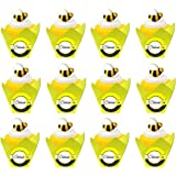 12pack Celebrate Edible BumbleBee Sugar Cupcake Decoration Topper with Decorative Baking Cup Liners -12ct
