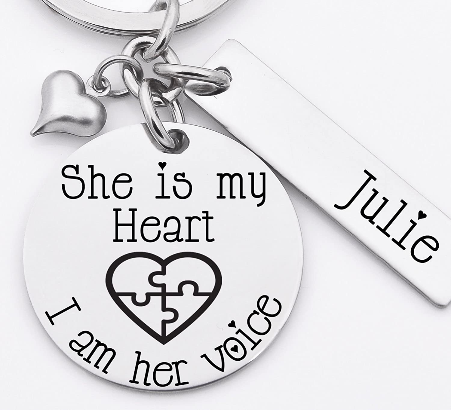 Autism awareness key chain, stainless steel key chain, personalized, She is my heart I am his voice, with a heart with puzzle pieces.