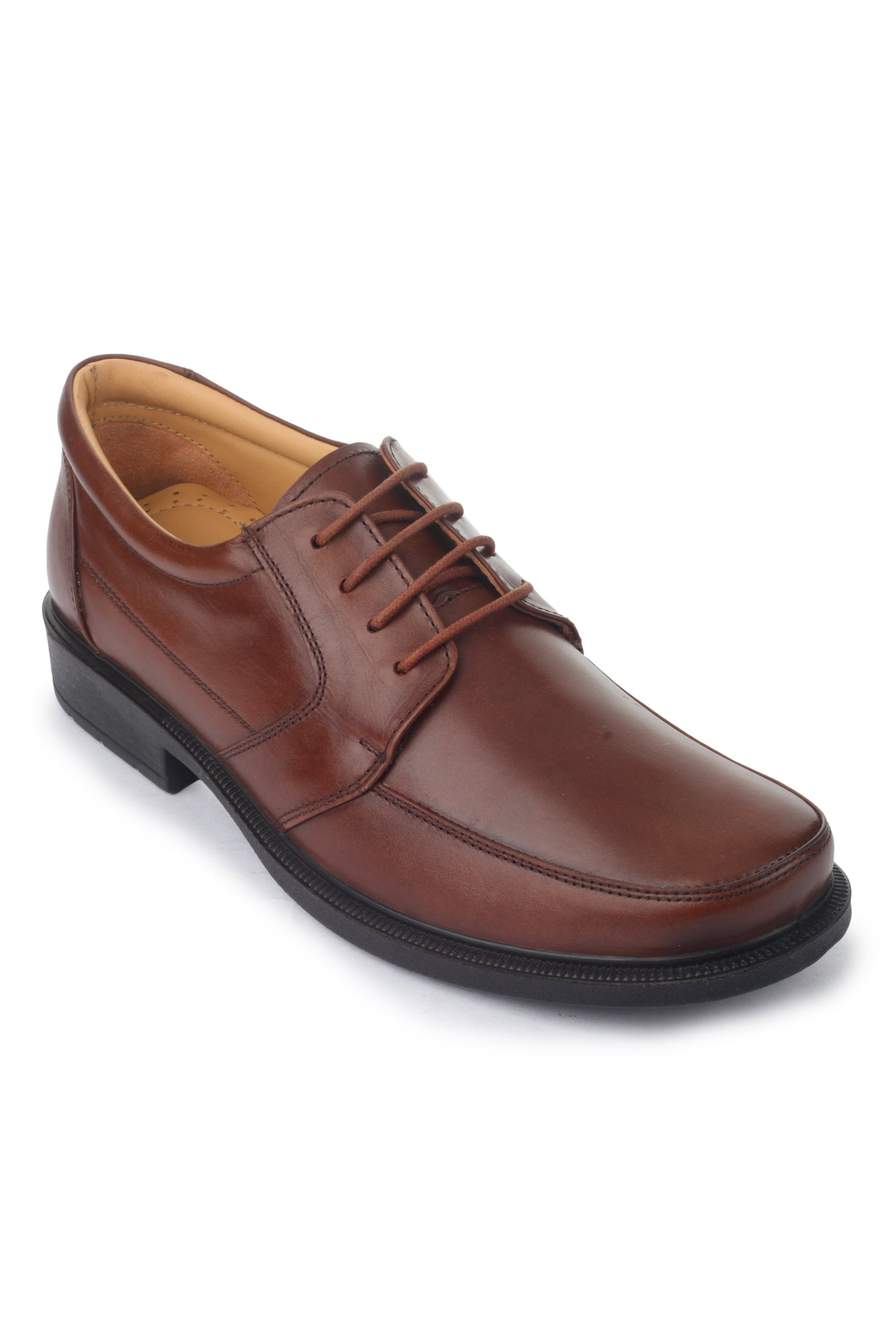 Liberty Mens Classic Round Toe Leather Lined Slip On Dress Laceup Shoes, Brown, 7.5 D(M) US