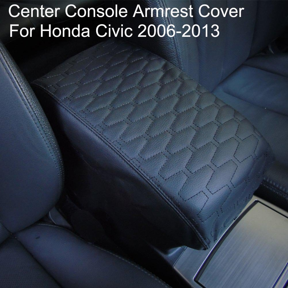 Black PU Leather Center Console Armrest Cover for Honda Civic 2006-2013 by Big Ant-Protects from Dirt and Damage Renews Old Damaged Consoles