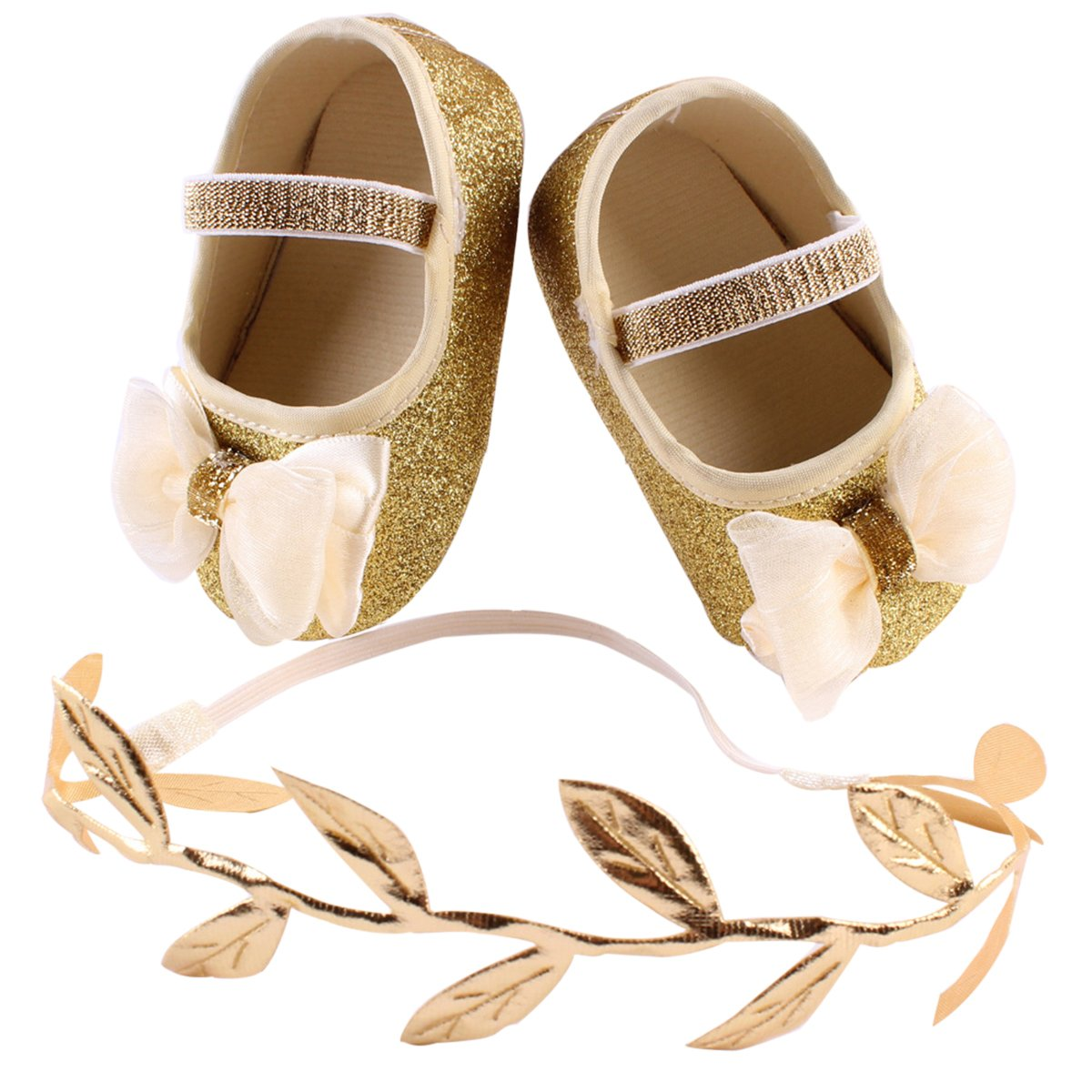 Baby Girls Bowknot Glitter Shoes with Leaves Shaped Headband Gift Set - 13CM (Gold) LUOEM