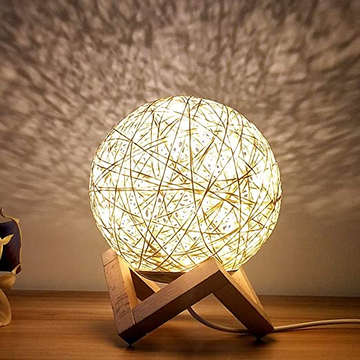 Veilleuse Plug In Lampe De Chevet Rotin Balle Creative Reve Etoile