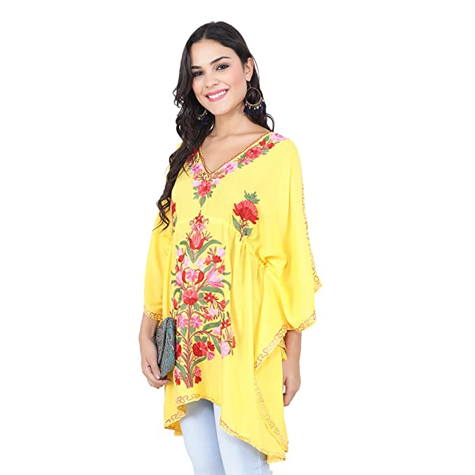 18d90bcf15 CRAFTBAZAR Women's Boho Floral Embroidered Yellow Kaftan Top (Free Size):  Amazon.in: Clothing & Accessories