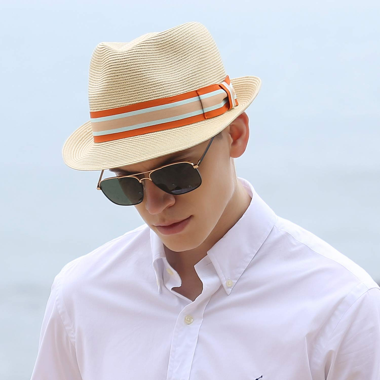 1950s Mens Hats | 50s Vintage Men's Hats Janetshats Straw Fedora Unisex Summer Sun Hats Panama Short Brim Hat Men Women $33.99 AT vintagedancer.com