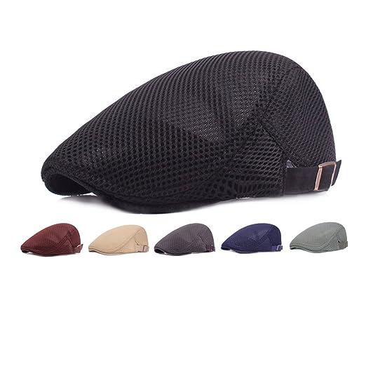 72440b76 Eohak Summer Hat Newsboy Beret Mesh Breathable Ivy Cap Cabbie Flat Cap ( Black)