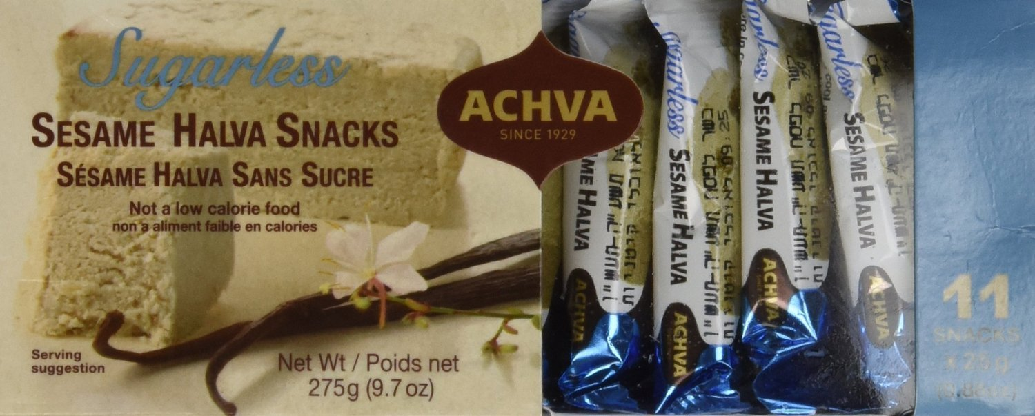 Achva Sugar Free SESAME Halva Snack Kosher Mini Bars 2 Packs, 11 Snacks, N.W. 9.7oz each pack by Achva
