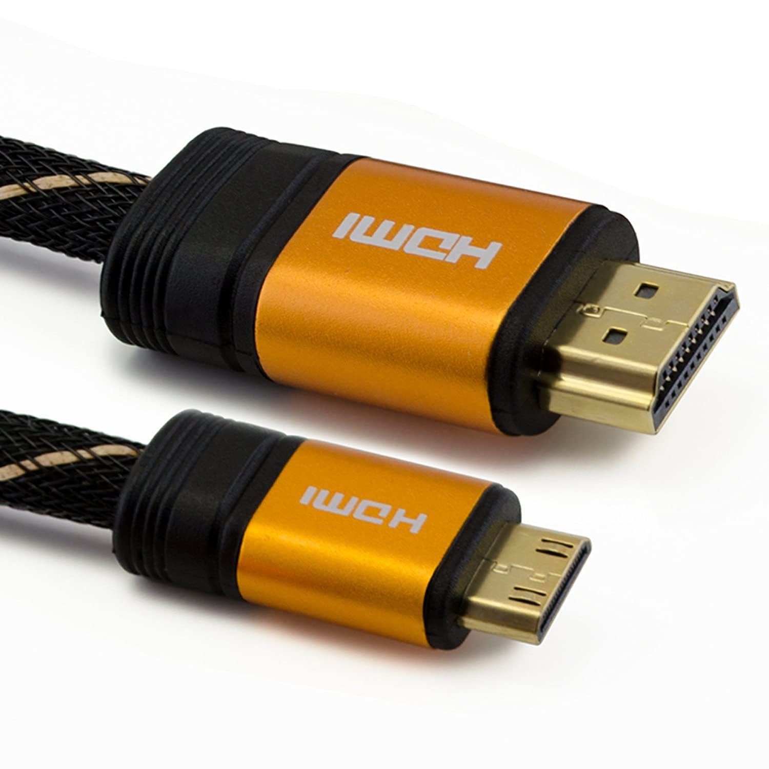 Tech'Import Cable Adaptador HDMI Tipo A a Tipo C - 1,5M - Full HD 1080p, 3D, Ethernet - Blindaje Triple - Conectores chapados en Oro - Trenzado de Nylon