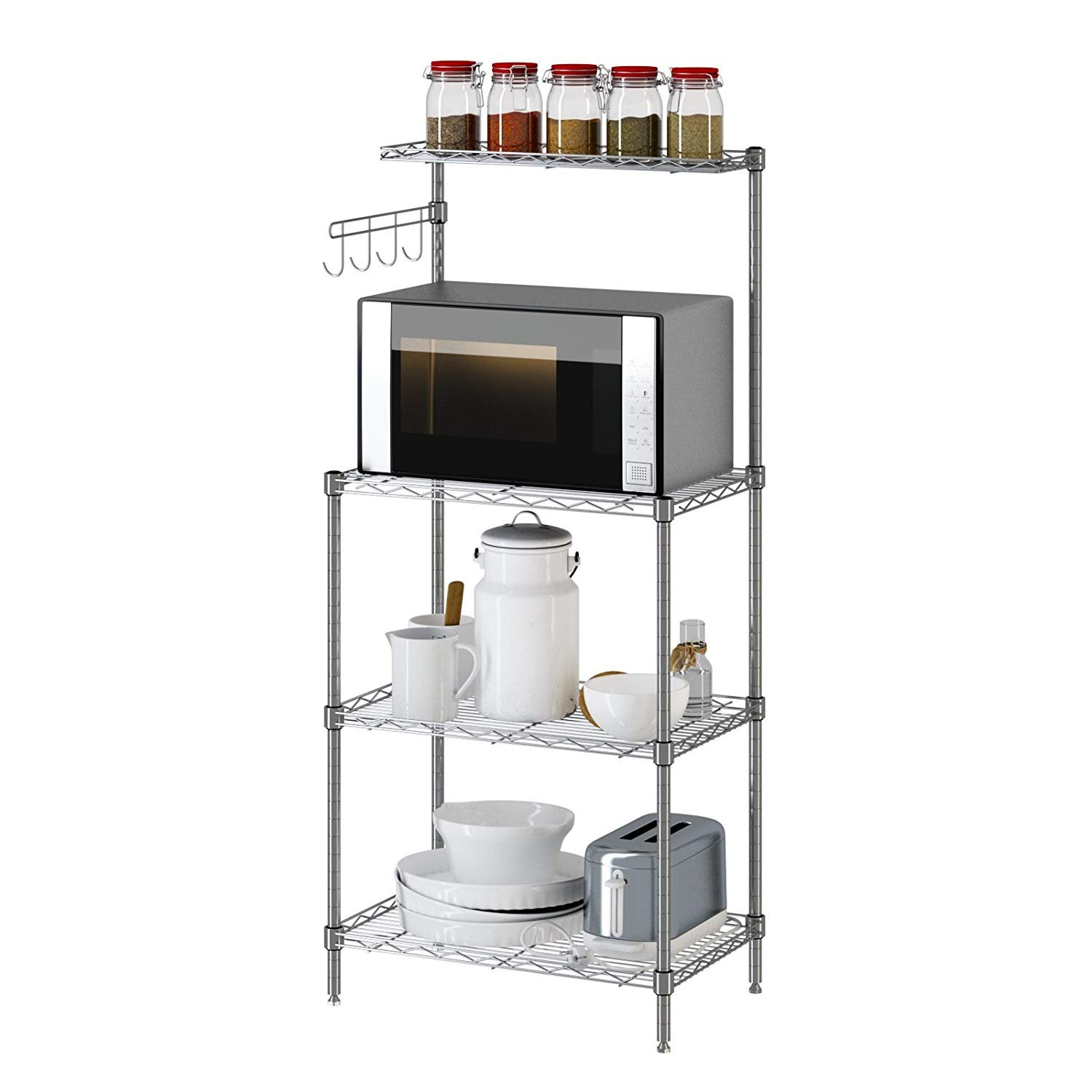 Yontree 3 Tier Microwave Stand Storage Rack,Baker's Rack,Kitchen Wire Shelving Silver Grey 13.8x21.7x47.2 Inches