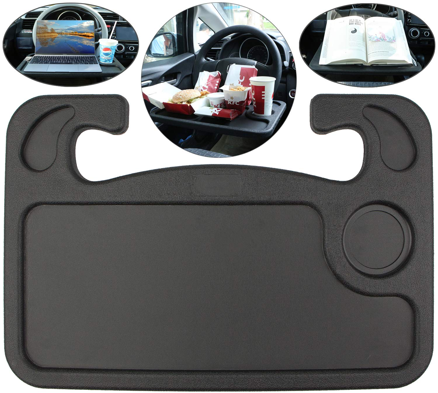 Spurtar Steering Wheel Tray (2in1) Auto Steering Wheel Desk for Computer, Food, Snack, Lunch, Drinking, Car Laptop Desk/Eating Table - Universal Fit, Black