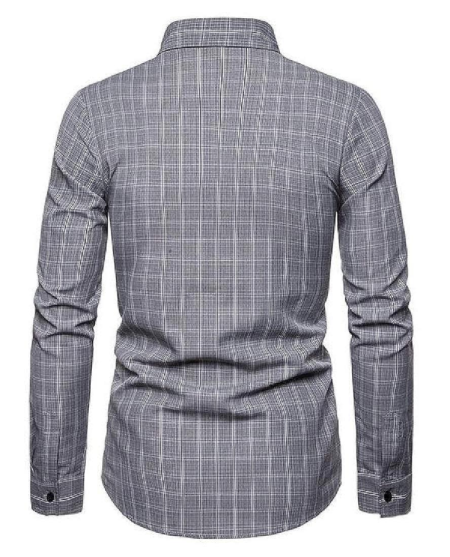 Jofemuho Mens Long Sleeve Formal Regular Fit Checkered Button Down Dress Shirt