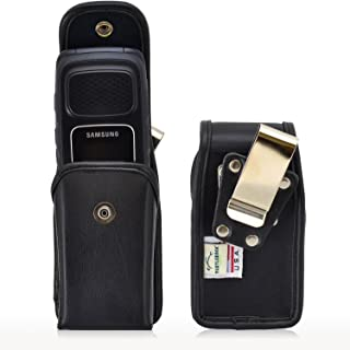 product image for Turtleback Holster Compatible with Samsung Rugby, 4 Flip Phone Pouch Case, Snap Closure (Black Leather Snap/Rotating Clip) - Made in USA