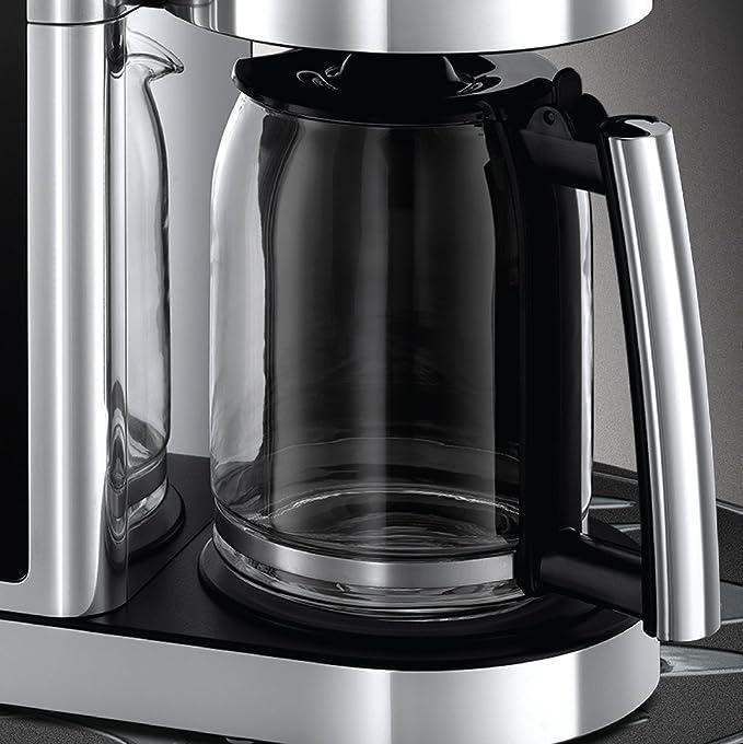 Russell Hobbs Elegance Cafetera Diseño de Cristal, Auto Limpieza, 1600 W, 1.25 litros, Negro, Acero Inoxidable: Amazon.es: Hogar