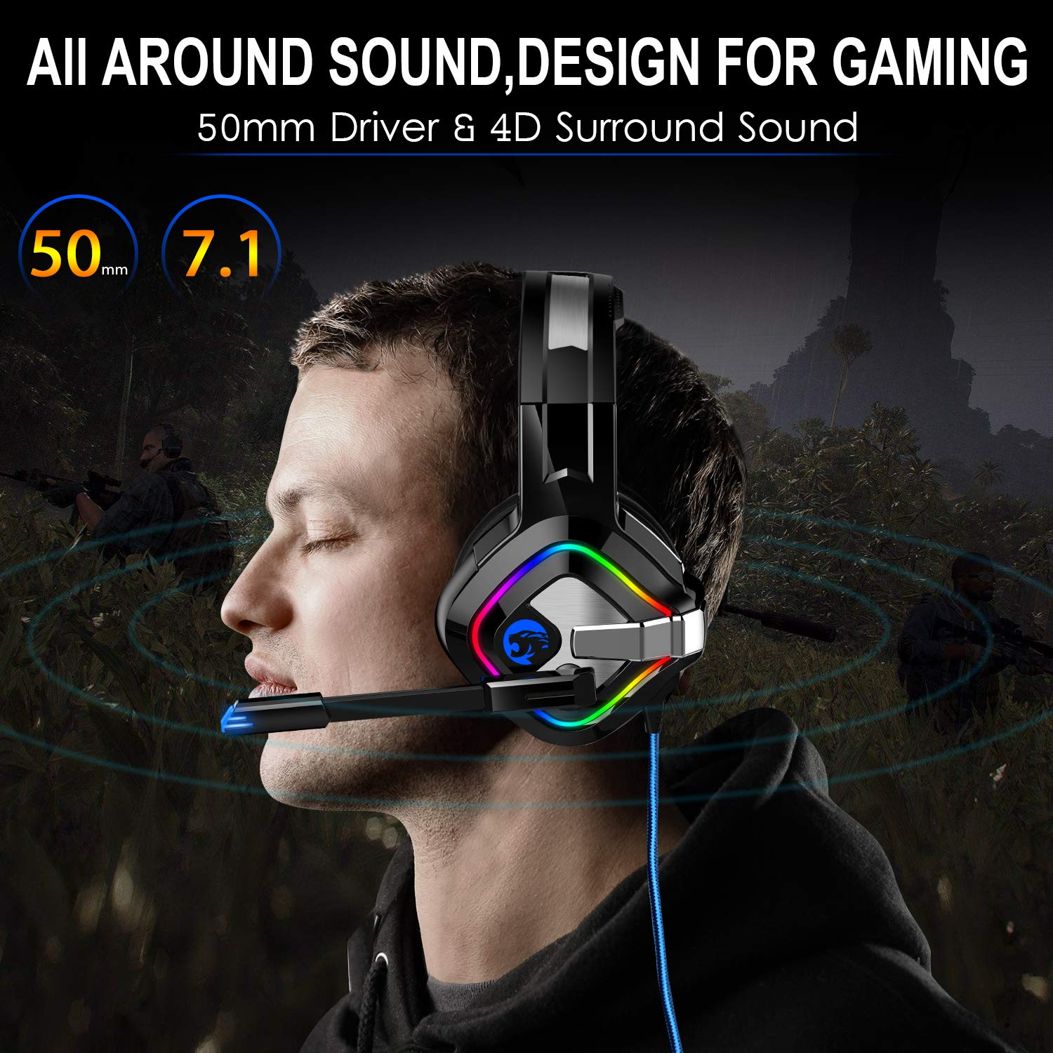 ZIUMIER Gaming Headset PS4 Headset, Xbox One Headset with Noise Canceling  Mic & RGB Light, PC Headset with Stereo Surround Sound, Over Ear Headphones