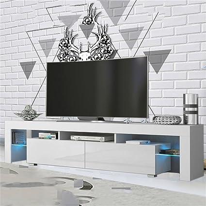 Amazon.com: Homgrace Modern LED TV Unit Cabinet Stand with 2 Shelves ...
