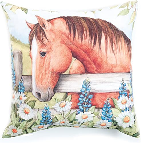 Manual Woodworkers Blooms and Horses Pillow, Sorrel