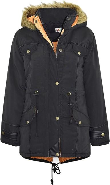 Boys Parka Coat Ages 5 7 8 9 10 11 12 13 16 Years Jacket Faux Fur Black Navy