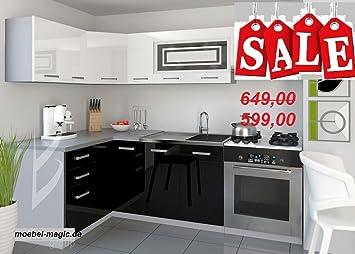 Küche / Küchenzeile / Küchenblock/ Einbauküche / L   Form / Infinity  Hochglanz Schwarz