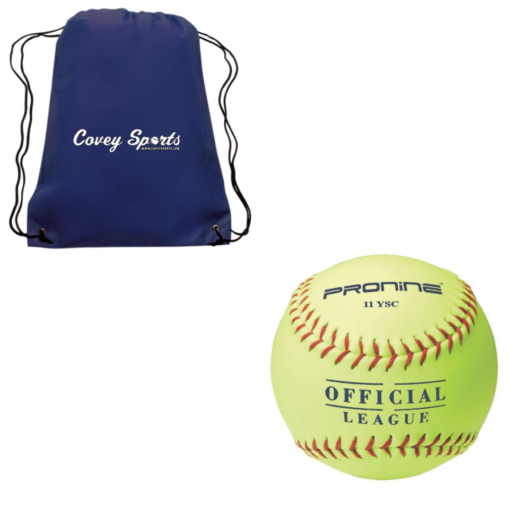 ProNine 11 Inch Soft-Core Fastpitch Softball for 10U Ages (6-Balls) Bundled with Covey Sports Drawstring Carrying Bag