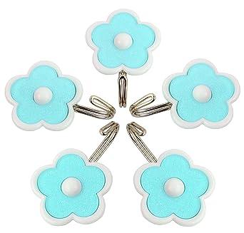Hokipo Flower Design Self Adhesive Hooks, Load Capacity 1.5 Kg, 5 Piece Set, Color: Blue