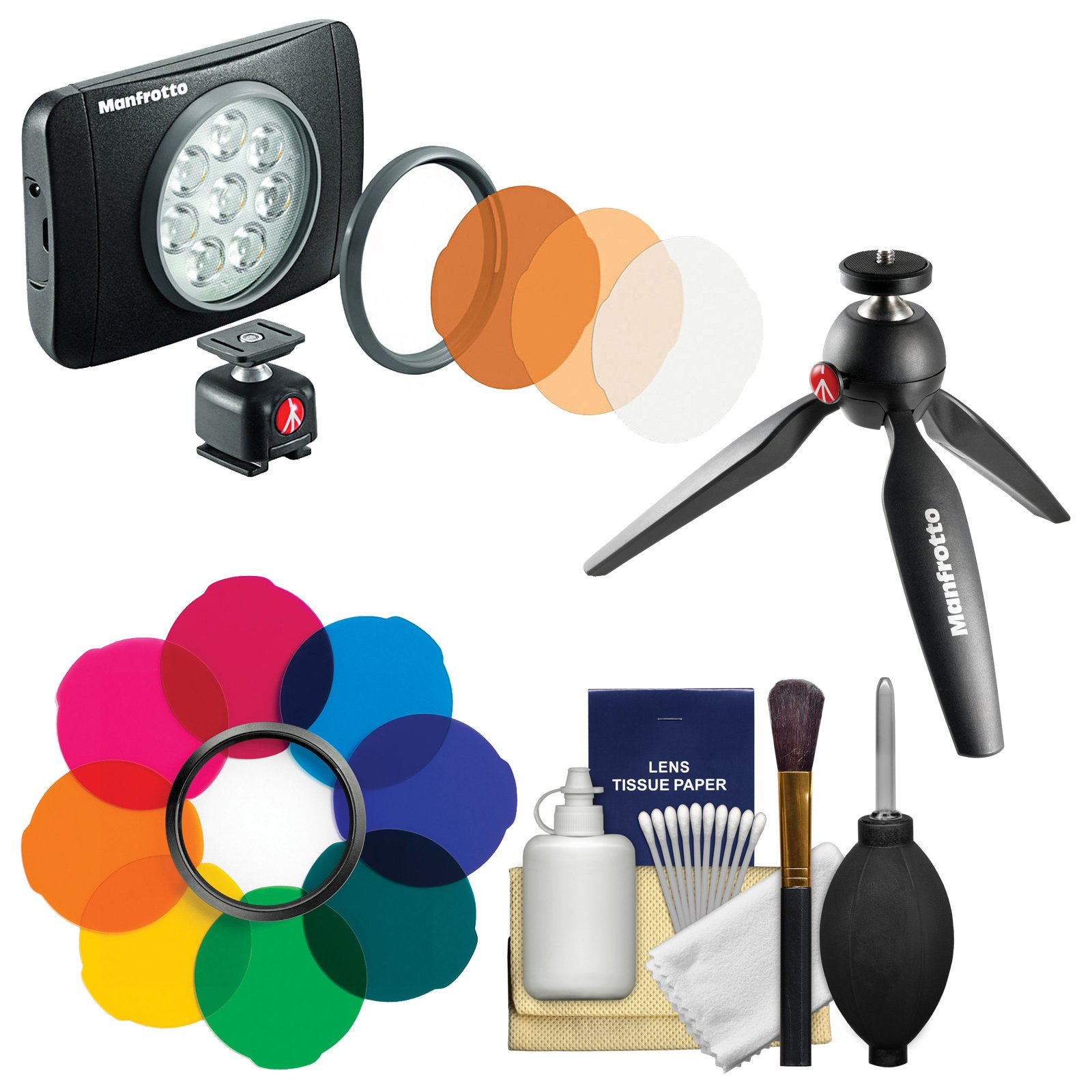 Manfrotto Lumimuse 8 On-Camera LED Video Light with Multicolor Filter Kit + Tripod + Cleaning Kit by Manfrotto