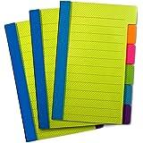 Foglietti adesivi PeakaZoo con segnapagina (3 conf.) – Per codificare per colore, ideali per libri, agende – 6 colori neon con righe per annotare – Ottima qualità, non lasciano residui di adesivo