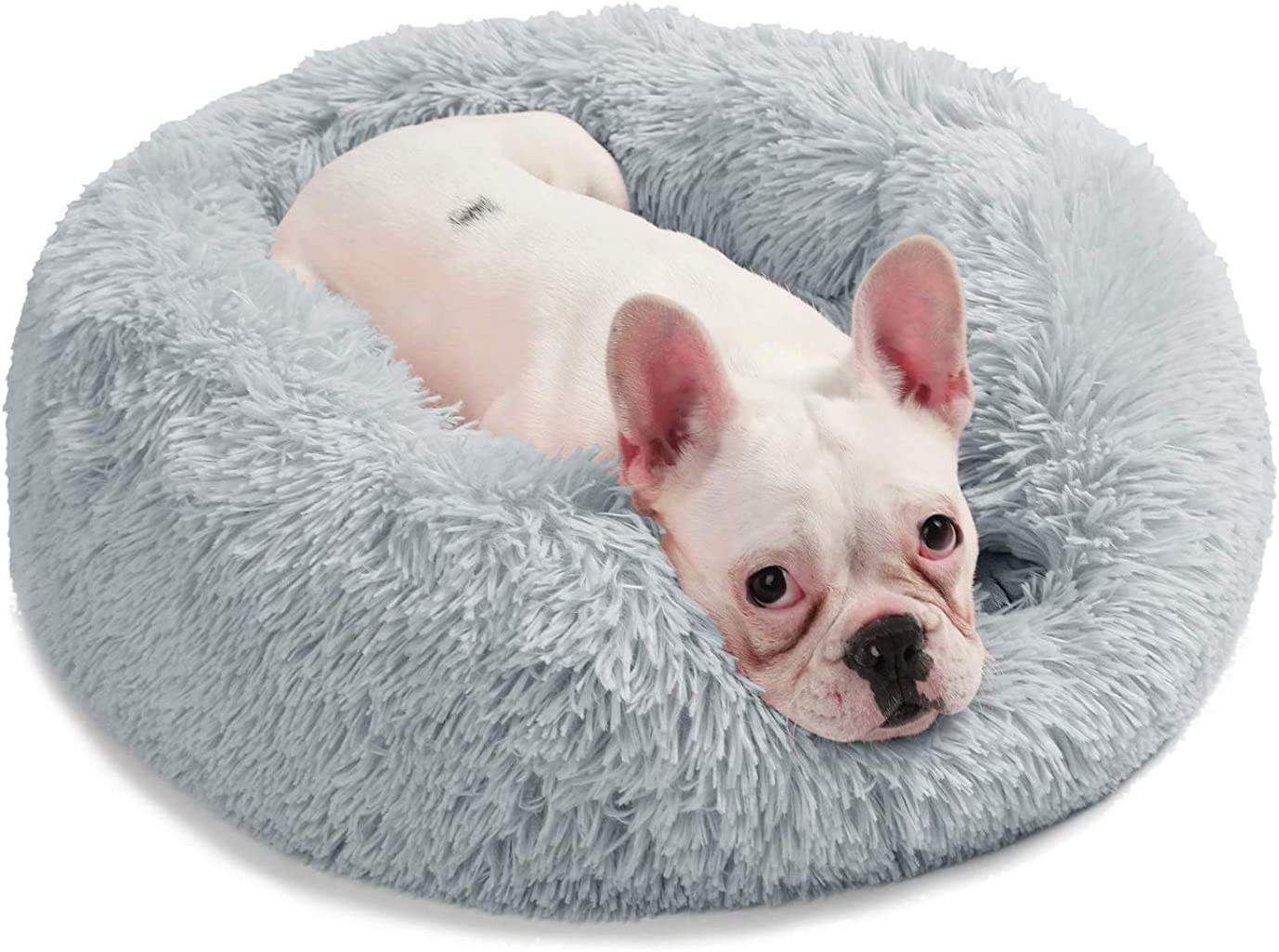 DOG BED Round for Small and Medium Dogs Cats,Faux Fur Donut Cuddler, Bolster Pet Bed Sofa, Extra Plush Dog Pillow Couch, Machine Washable Pet Bed, Orthopedic Relief,A,L70CM