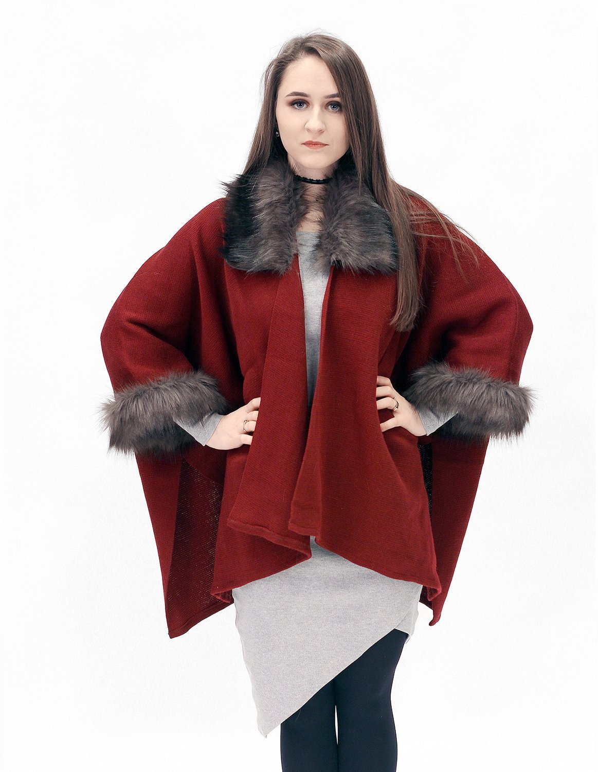 Elegant red and dark brown half-woolen cardigan with high quality faux fur - made by Irena Fashion