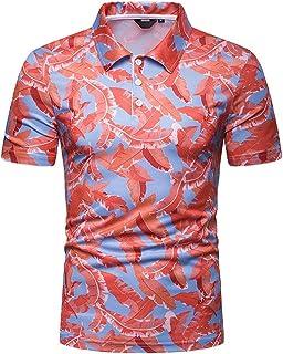 Versaces T-Shirt a Manica Corta Tempo Libero di Cotone Colore a Contrasto Stampa a Foglia vestibilità Slim Risvolto T-Shirt