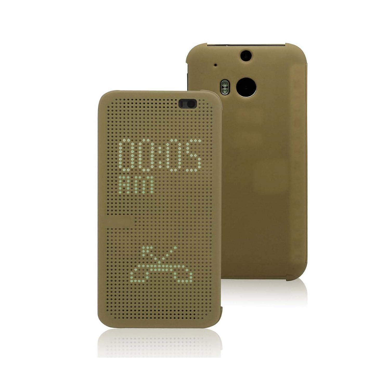 Funda One M8, Ordica ES®, Carcasa HTC One M8 Con Tapa a libro [Dot View Compatible] Case Slim Resistente Case Accesorios Anti Golpes, Color Oro -