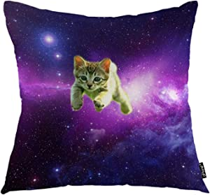 """oFloral Cat Throw Pillow Covers Galaxy Sky Purple Space Brown Kitten Kitty Animal Decorative Square Pillow Case 18""""X18"""" Pillowcase Home Decor for Sofa Bedroom Livingroom"""