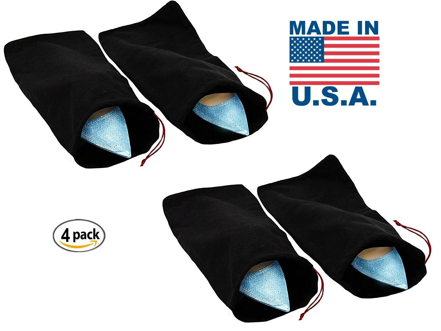 Earthwise Shoe Storage Bags 100% Cotton with Drawstring For Men and Women Perfect for Travel MADE IN THE USA 17'' X 8'' Machine Washable Black (Set of 4)