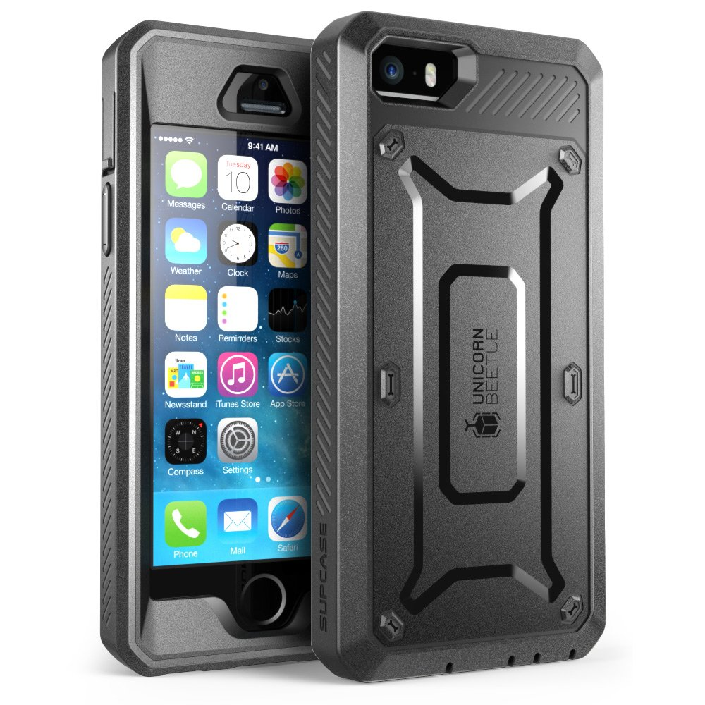 iPhone SE Case, SUPCASE Full-body Rugged Holster Case with Built-in Screen Protector for Apple iPhone SE (2016 Release/Compatible with iPhone 5S/5), Unicorn Beetle PRO Series (Black/Black) by SupCase